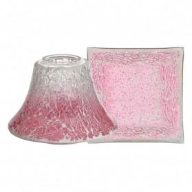 Pink Fade Crackle duży klosz + talerz