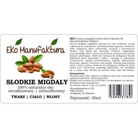 Olej Słodkie Migdały Nierafinowany 30ml