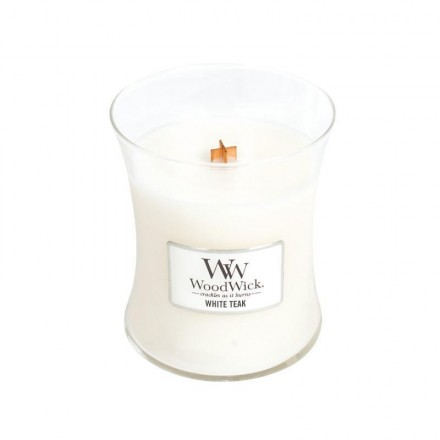 White Teak świeca średnia WoodWick