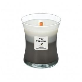Warm Woods średnia świeca Trillogy WoodWick