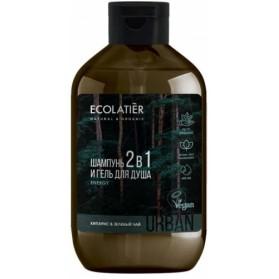 Szampon i Żel pod prysznic 2w1 dla mężczyzn Cyprys i Zielona Herbata 600ml ECOLATIER URBAN